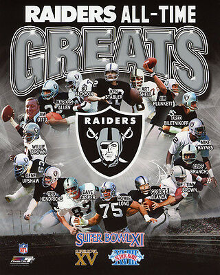 LOS ANGELES RAIDERS All-Time Greats Glossy 8x10 Photo Print NFL Football Poster