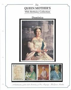 Stamps-The-Queen-Mother-039-s-95th-Birthday-Collection-Dominica