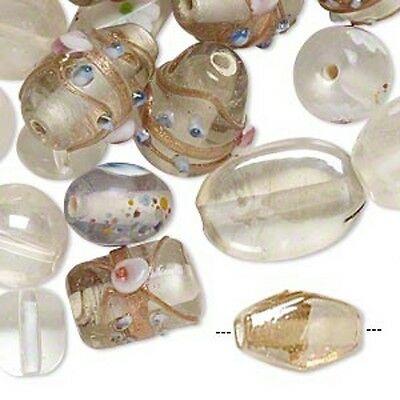 Clear Lampwork Glass Beads Fancy Crystal Mix Jewelry Lot of 70+