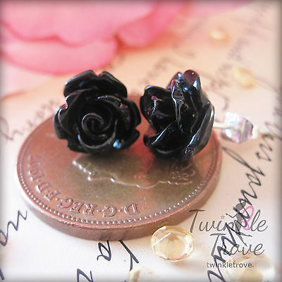Small Vintage Style Rose Stud Earrings *Many Block Colour to Choose* With Box!!