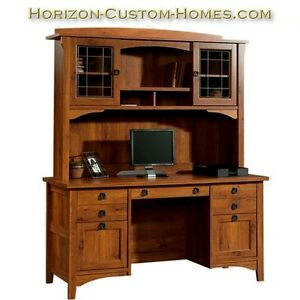 Deluxe Mission Craftsman Shaker Computer Desk W Hutch Ebay