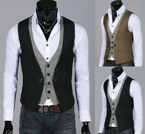Mens-Stylish-Double-layered-Button-Chained-VEST-2-color-S-L-size