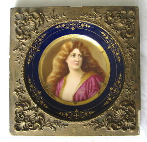 Framed-19th-Century-Royal-Vienna-Hand-Painted-German-Porcelain-Plate
