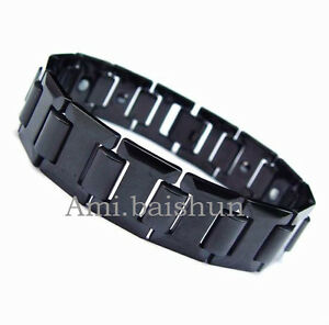 Men-Boy-Magnetic-Tungsten-Steel-Carbide-Black-Link-Bracelet-Bangle-New-Design