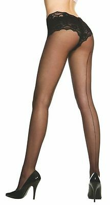 Sheer Black or Natural Nude Back Seam Nylon Tights Sexy Designer Lingerie P820