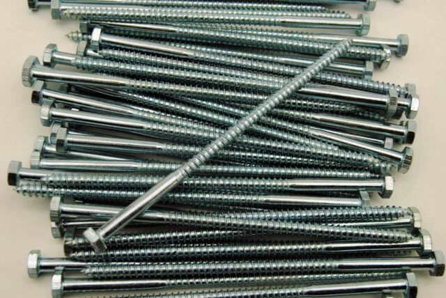 100 Zinc Plated 1//2x4 Hex Lag Screws The best fasteners