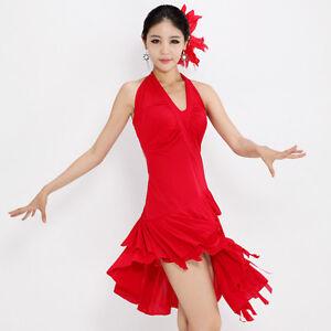 NEW-Latin-salsa-cha-cha-tango-Ballroom-Dance-Dress-D039-Red