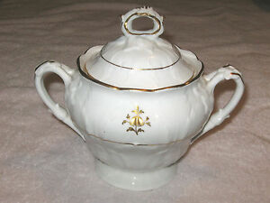 Antique China Tea Set - Teapot, Sugar Bowl, Creamer, White/Embossed #3 - Sugar