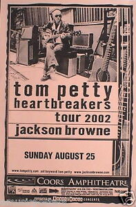 tom petty the heartbreakers jackson browne 2002 san diego concert tour poster ebay. Black Bedroom Furniture Sets. Home Design Ideas