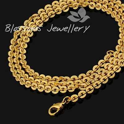 "18K 18ct Yellow GOLD GF Cable CHAIN NECKLACE 23"" S081"