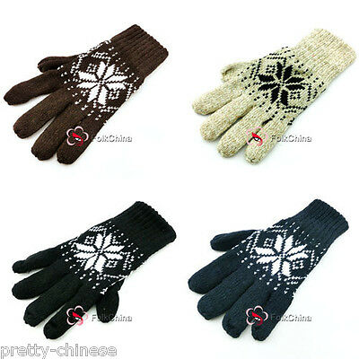 New Fashion Men's Women's Winter Thermal Wool Gloves