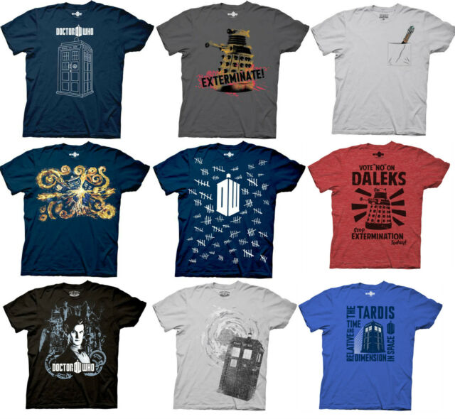 Choose From Dr. Who Officially Licensed T-Shirt Dalek Linear Tardis Tally Marks