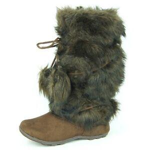 Women-039-s-Winter-Mid-Calf-Fur-Flat-Boots-Mukluk-Eskimo-Brown-6-11US