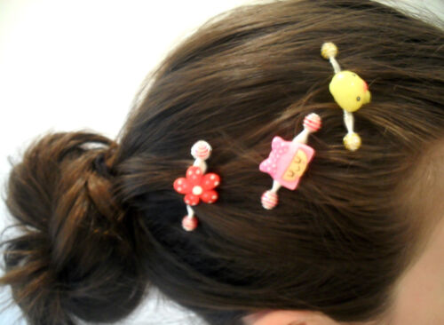 YELLOW DUCKIE SPRING YOUNG GIRLS HAIR CLIP GRIPS TIGHTLY LARGE AMOUNT COMFORT
