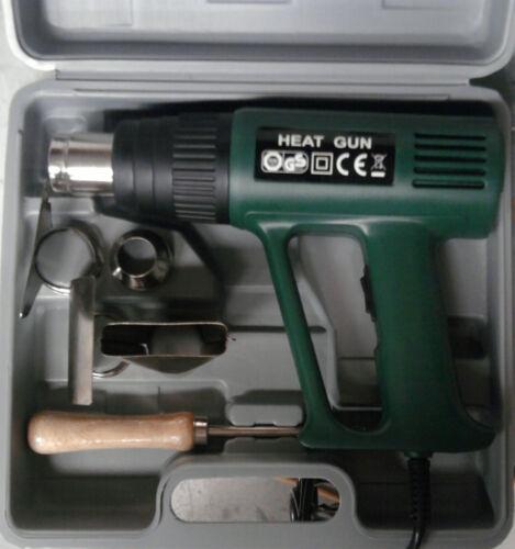QUALITY 7 PCE HEAT GUN KIT IN CASE 1500W HEATGUN 2SPEEDS / HEATS 300deg & 500deg
