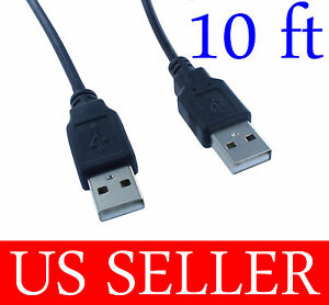 10Ft-10FEET-USB2-0-Type-A-Male-to-Type-A-Male-Cable-Cord-Black-U2A1-A1-10