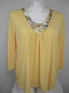 Susan-Graver-Size-1X-Liquid-Knit-U-Neck-Embellished-wStones-Sequins-in-Yellow