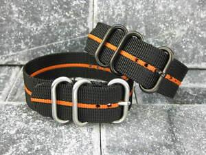 20mm-Nylon-Black-Diver-Strap-3-Rings-Orange-Stripe-Watch-Band-ZULU-Maratac