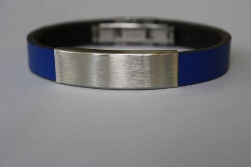 Bracelet en cuir Gravure poisson crois communion confirmation noir cadeau NEUF