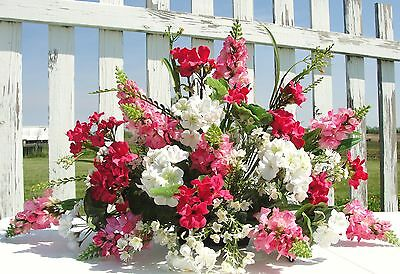 Pink Summer Snapdragons Geraniums Tombstone Saddle Cemetery Flowers Headstone