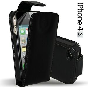 BLACK-LEATHER-FLIP-CASE-COVER-FOR-APPLE-IPHONE-4S-4GS-SCREEN-PROTECTOR
