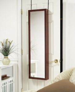 MIRROR-JEWELRY-ARMOIRE-ORGANIZER-OVER-DOOR-OR-WALL-HANG-CHERRY-FREE-SHIPPING