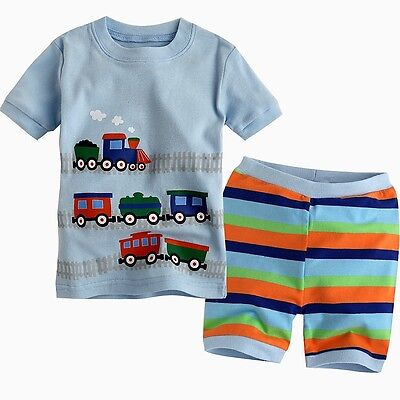 "NWT Vaenait Baby Toddler Kid Unisex's Short Sleeve Sleepwear""Little Train-Short"""