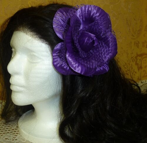 "3.5/""  Shiny Lace Lacy Fancy Flower Hair Clip Barrette Lapel Pin Brooch Corsage!"