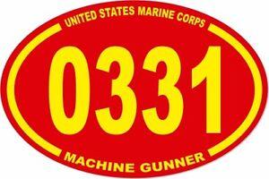 3 X 4.5 UNITED STATES MARINE CORPS USMC 0331 MACHINE GUNNER OVAL ...