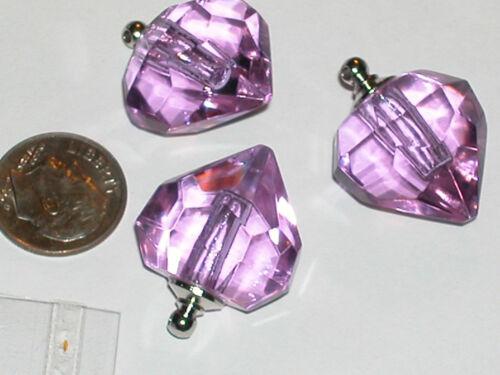 1pc. Purple Heart Perfume oil findings pendant rice charm small bottle SCREW CAP