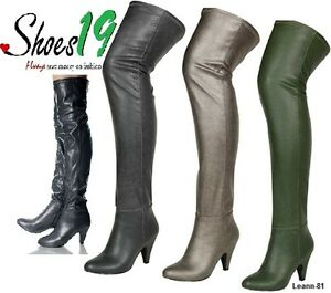 Sexy-Over-Knee-Thigh-High-Kitten-Thick-Heel-Side-Zipper-Boot-Lady-Clubbing-Shoes