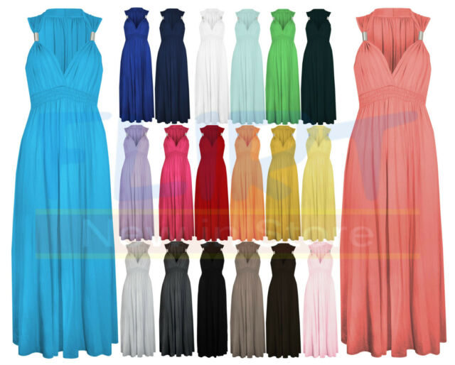LADIES LONG STRETCH WOMENS MAXI DRESS SPRING COIL EVENING DRESSES One Size 8-14