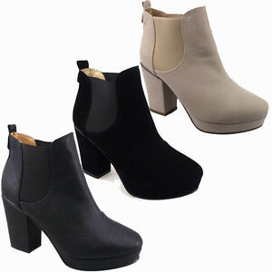 LADIES WOMENS BLACK CREAM ANKLE MID HEEL CHELSEA BOOT 3-8 | eBay