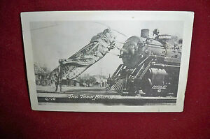 Vintage-RPPC-Exaggeration-Grasshopper-Train-C-10-by-Conard
