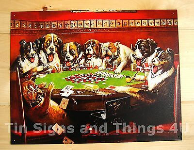 Dogs Playing Poker & Drinking Beer TIN SIGN vtg funny metal bar decor cards 497