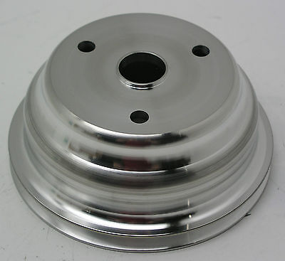 SBC SATIN ALUMINUM CRANK PULLEY SINGLE GROOVE FOR LONG WATER PUMP # 9484