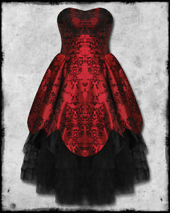 Hell-Bunny-Majesty-Red-Black-Flocked-Satin-Goth-Steampunk-Victorian-Prom-Dress