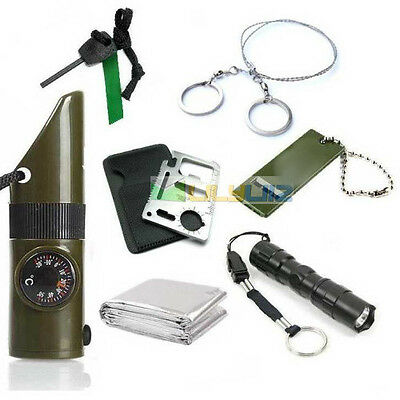 Emergency blanket+Survival Whistle kit+flint+wire saw+Card knife+Cree torch kit