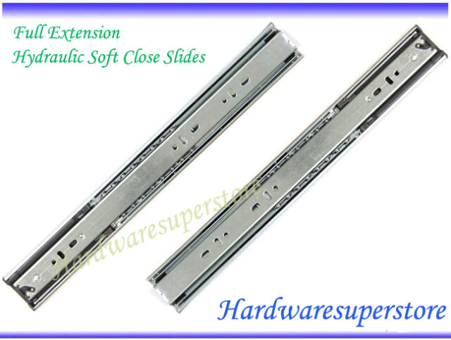 "18"" Hydraulic Soft Close Full Extension Ball Bearing Glides Drawer Slide"