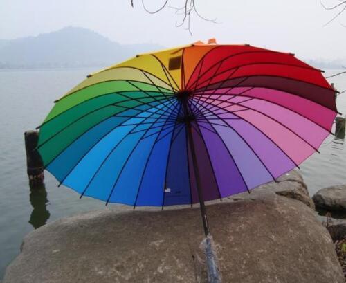 Very beautiful rainbow Umbrella Parasol For Wedding Party Favor A1