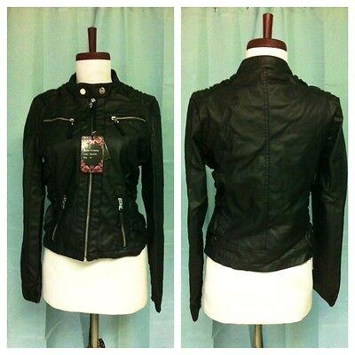 NWT Women super soft stylish motorcycle biker style faux leather zip up Jacket!