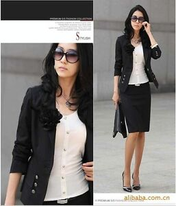 Black-Fashion-Button-Career-OL-Suit-Outwear-Top-Jacket-Blazer-S-M-L-3-Color-N230