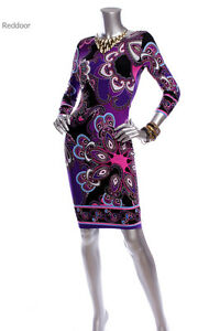 N-W-O-T-CACHE-Women-Paisley-Career-Evening-3-4-Sleeve-Dress-Purple-Black-XS-XL