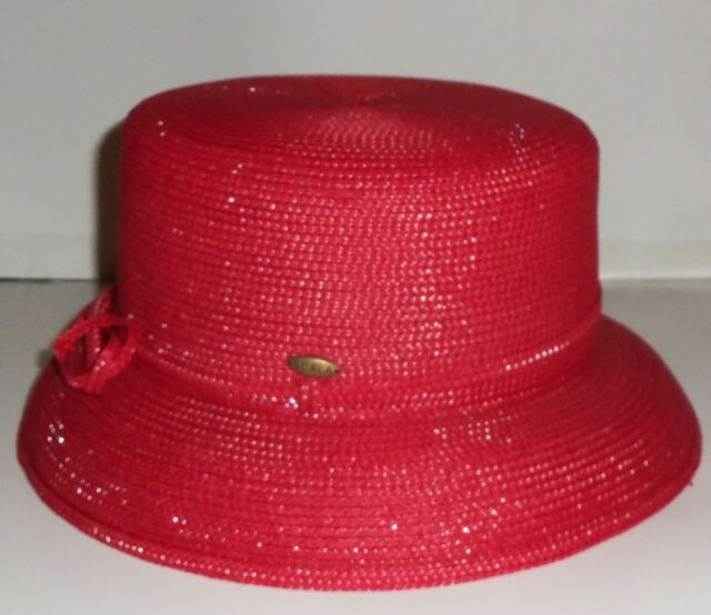 NEW!  WOMENS THE SCALA COLLECTION RED HAT SOCIETY CHURCH HAT