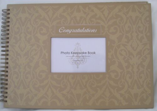 GUEST BOOK KEEPSAKE Anniversary/Wedding/Birthdays GOLD GLITTER PHOTO POCKET New