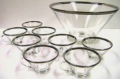 Silver Band Punch Bowl Dorothy Thorpe Style Cups Glasses Mid Century Modern Era