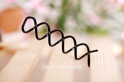 Korean Style 6Pcs Black Metal Spiral Hair Pin Clip Pick Barrette For Girls