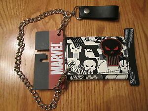 Punisher Print Wallet with Metal Logo and Chain Trifold NWT - 2