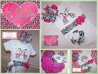 Custom Monogrammed Onesie Set ~  Baby Shower Gift ~ Pink & Zebra Print