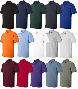 Hanes-Mens-Cotton-Pique-Sport-Polo-Shirt-S-M-L-XL-2XL-3XL-4XL-5XL-6XL-055X-055
